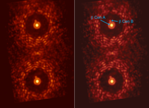 Double image of the star beta Centauri taken through an experimental version of the vector-APP coronagraph installed at MagAO. Located 350 light-years from Earth, beta Centauri is a system of two companion stars orbiting each other at about four times the average distance between the Earth and the sun. Both images of beta Centauri contain a dark region that covers the complete 360 degrees around the central star. In both cases, the binary companion to beta Centauri is easily detected. (Image: Leiden/UA)
