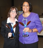 Becky Bell (left) and Leslie Porter were honored during a ceremony in the Student Union Memorial Center on Tuesday.