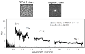 The non-detection of J1342+0928 in visible light (image top left), despite its brightness in the infrared (in the Magellan image, top right), identifies it as an interesting distant object. From the spectrum of the object (taken with Gemini, Magellan and LBT), which identified it as the most distant quasar known, the research team also measured the mass of its supermassive black hole. (Image: Eduardo Bañados/Carnegie Observatories and Xiaohui Fan/UA)