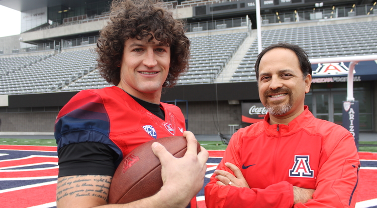 Ricardo Valerdi has advised many UA student-athletes, including former football player Jason Sweet. Valerdi and Sweet worked together on an app that educates football players about concussion. (Photo: Emily Litvack/UA Office for Research, Discovery & Innovation)