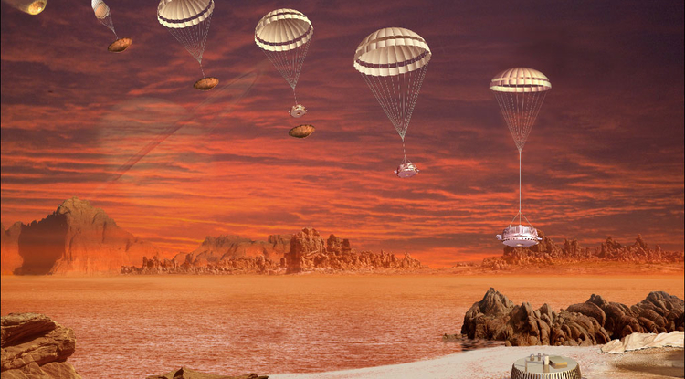 With Saturn faintly looming over Titan's hazy horizon, the Huygens probe parachutes onto the moon's surface in this artist's impression. (Image: ESA/D. Ducros)