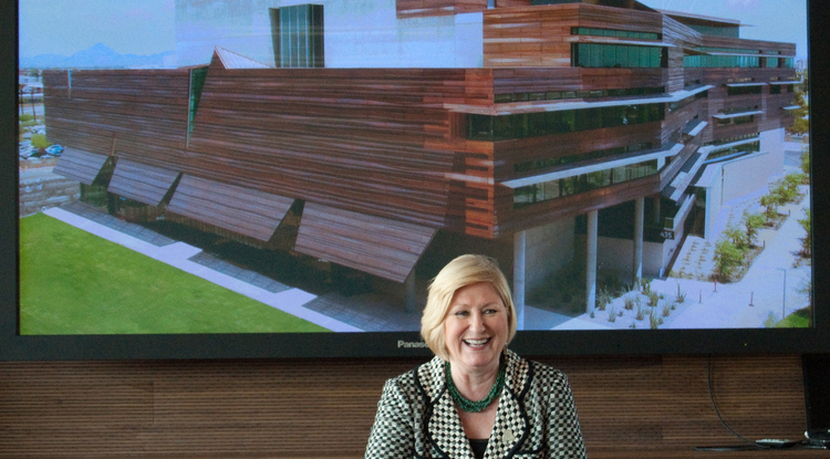 UA President Ann Weaver Hart recently visited the new Health Sciences Education Building at the UA College of Medicine-Phoenix. (Photo by Patrick McArdle/UANews)