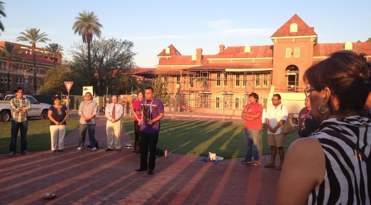 "Dozens of people attended an early Tuesday morning ""sunrise ceremony."" Members of the campus and Tucson communities will host similar events during Native American Heritage month in November. Details on the month's events are forthcoming. (Photo courtesy of Karen Francis-Begay)"