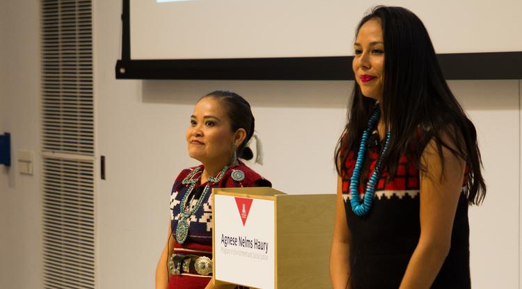Karletta Chief (left) and Janene Yazzie make their team's presentation for the Haury challenge grant. (Photo: Ernesto Trejo/UANews)