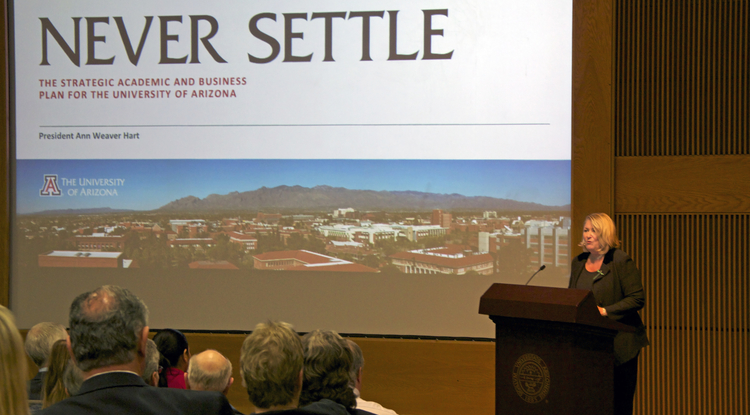 "In presenting the University's strategic academic and business plan, UA President Ann Weaver Hart said Never Settle ""violated all the principles of academic planning time,"" being developed within one year and with input from about 4,000 people, who participated in meetings, town hall events and online surveys. (Photo credit: Beatriz Verdugo/UANews)"