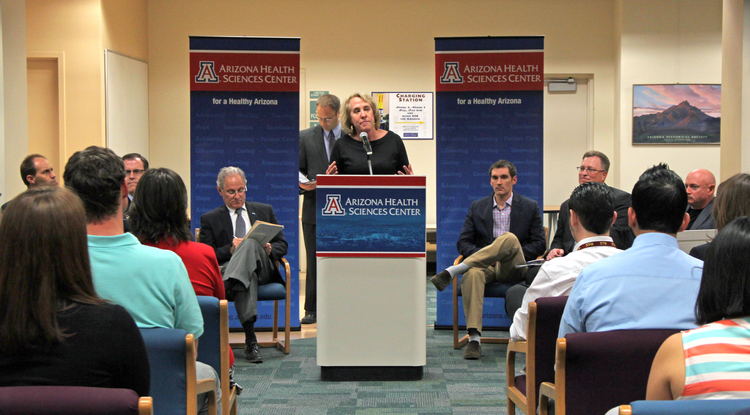 Melissa Vito welcomes visitors to the UA's new VETS Center, which opened in early April.