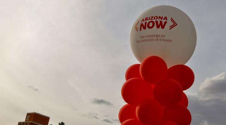 Balloons mark the spot where festivities took place Friday on the UA Mall to kick off Arizona Now, the university's largest campaign in history. Photos by Patrick McArdle/UANews