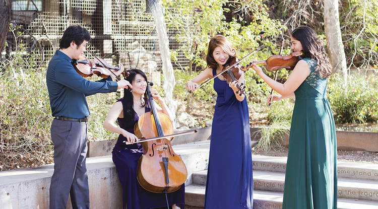 The University of Arizona 2018 Graduate String Quartet: (From left) Tiezheng Shen, Diana Chiknaikin, Stella Kim and Laura Cásarez.