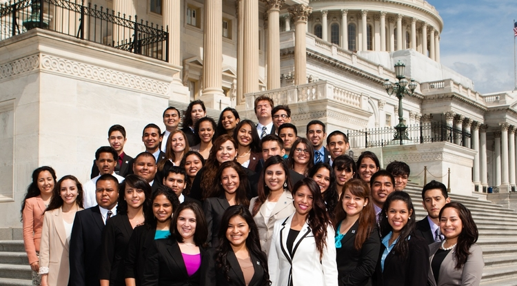 University of Arizona South students Beatriz Greeno and Juan Andres Espinoza will spend most of the fall semester interning in Washington, D.C. The Congressional Internship Program provides professional leadership skills to undergraduate Hispanic students attending schools across the U.S. (Photo courtesy of the Congressional Hispanic Caucus Institute)