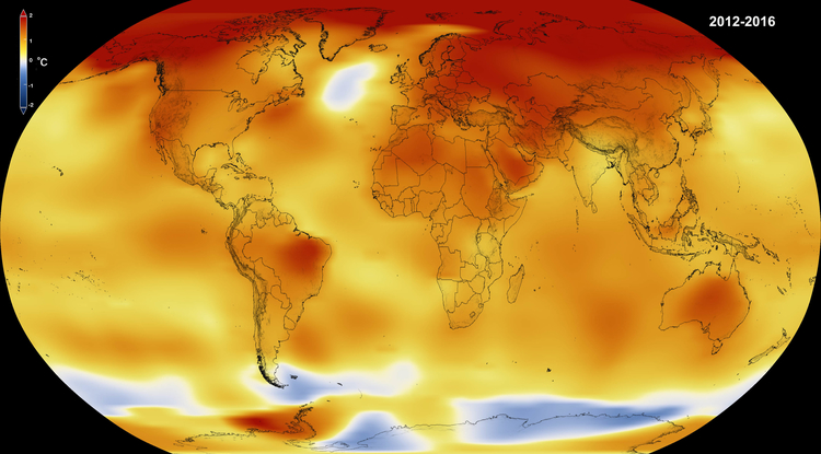 2016 was the third year in succession to set a new record for global average surface temperatures. (Image: NASA)
