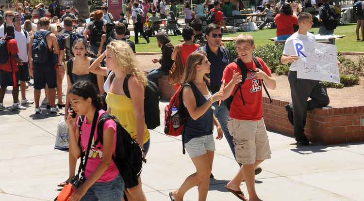 The 2012-13 freshman class is smart, ethnically diverse and primarily from Arizona. (Photo by Norma Jean Gargasz/UANews)