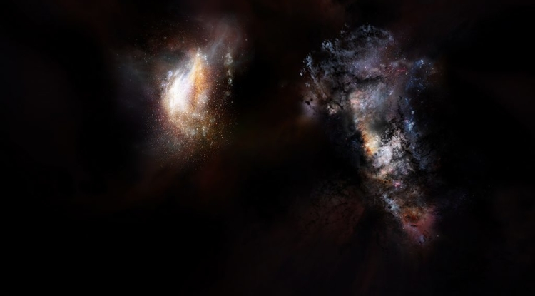 An artist's impression of a pair of galaxies from the very early universe (Credit: NRAO/AUI/NSF; D. Berry)