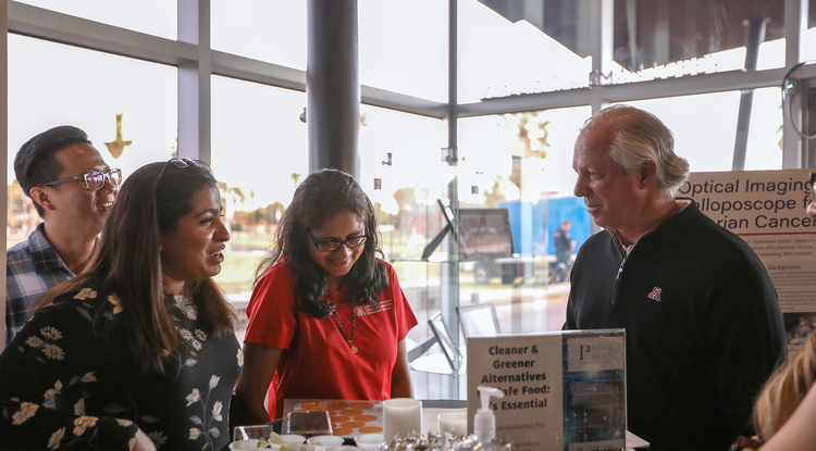 From left: Visiting scholar Qi Wei, research technician Aishwarya Rao, associate professor Sadhana Ravishankar and UA President Robert C. Robbins. (Photo: Tech Launch Arizona)