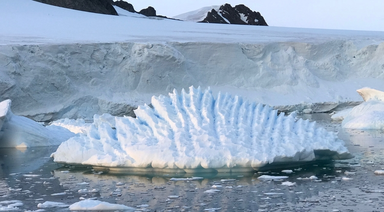 An unusual iceberg at Rothera Research Station, Antarctic Peninsula (Photo: Andrew Shepherd, University of Leeds)