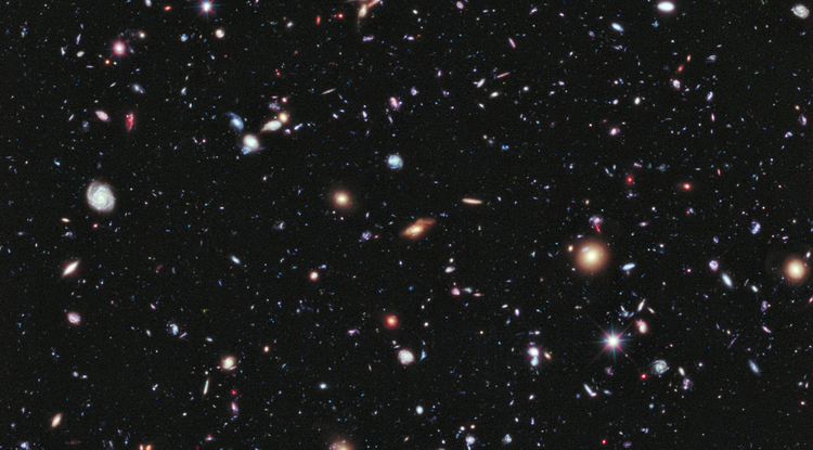 "The accelerating expansion of the galaxies observed in the Hubble Ultra Deep Field may conform more to Albert Einstein's ""cosmological constant"" than a popular alternative theory of dark energy. (Credit: NASA; ESA; G. Illingworth, D. Magee, and P. Oesch, University of California, Santa Cruz; R. Bouwens, Leiden University; and the HUDF09 Team)"
