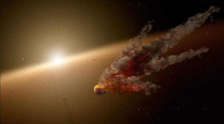 Planets form from epic collisions between asteroids and even bigger bodies, called proto-planets. This artist's concept shows the immediate aftermath of a large asteroid impact around NGC 2547-ID8, a 35-million-year-old sun-like star thought to be forming rocky planets. NASA's Spitzer Space Telescope witnessed a giant surge in dust around the star, likely the result of two asteroids colliding. (Image: NASA/JPL-Caltech)