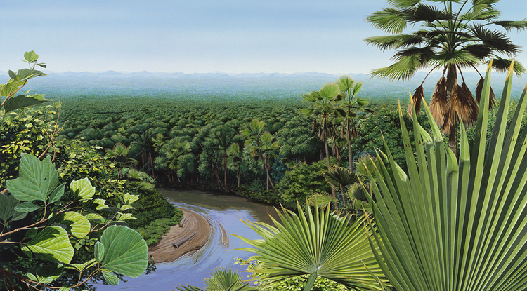 A post-apocalyptic forest: This post-extinction landscape is lush from warm weather and ample rain along the Front Range, but there are only a few types of trees. Extinct relatives of sycamores, walnut trees and palm trees are the most common. (Image by Donna Braginetz; courtesy of Denver Museum of Nature & Science)