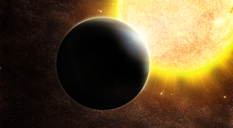 Artist's impression of a Jupiter-size exoplanet and its host, a star slightly more massive than the sun. (Image: ESO)