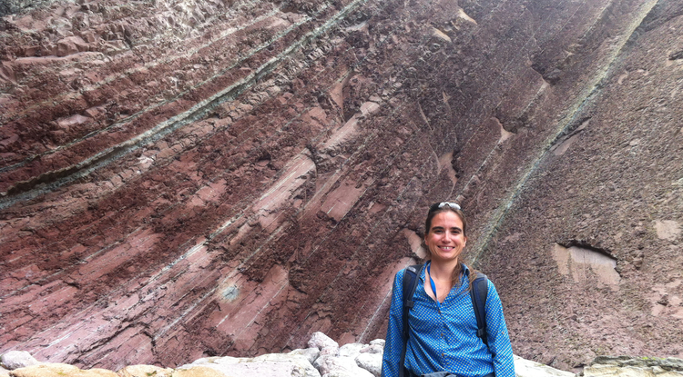 Barbara Lafuente, UA geosciences doctoral candidate and Carbon Mineral Challenge team member, on a field trip in Spain. (Photo courtesy of Barbara Lafuente)