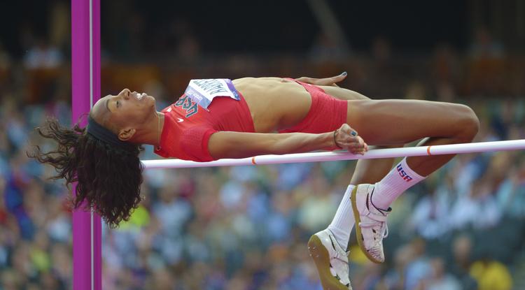 Brigetta Barrett won a silver medal in the high jump.
