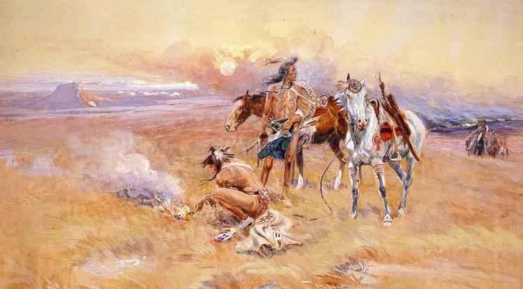 Blackfeet Burning Crow Buffalo Range, painting by Charles Marion Russell, 1905.