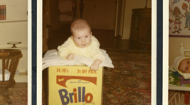 """Baby Lisanne Skyler on the Brillo Box from """"Brillo Box (3¢ Off)."""" From the Andy Warhol Foundation for the Visual Arts Inc. (Brillo trademark used with permission of Armaly Brands Inc.; photo courtesy of HBO)"""