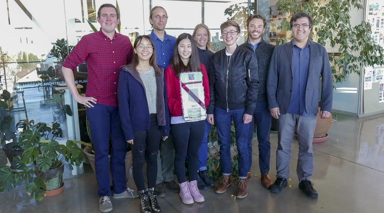 Faculty and students in CAPLA's interdisciplinary urban design studio included (back row, from left) Arlie Adkins, Brad Kindler, Kelly Cederberg and Chris Ortiz y Pino and (front row, from left) Yuheng Zhang, Fei Yu, Amanda Maass and Eduardo Guerrero. Not pictured: Connor Harmon and Michele Scanze. (Photo: Stacy Pigott/UANews)