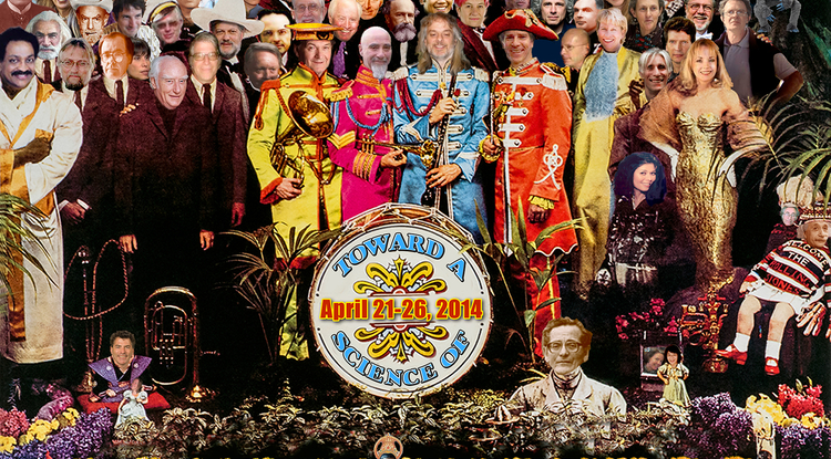 "Click on image to enlarge. The 20th anniversary Toward a Science of Consciousness 2014 conference logo is a rendition of The Beatles' ""Sgt. Pepper's Lonely Heart Club Band"" album cover by Dave Cantrell, UA BioCommunications."