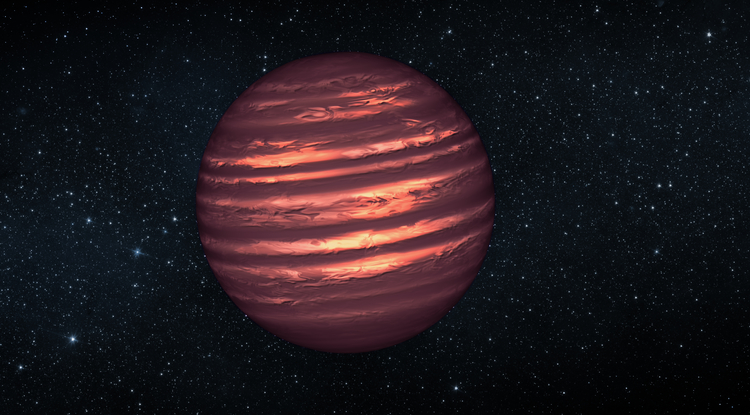 This artist's conception illustrates the brown dwarf named 2MASSJ22282889-431026. NASA's Hubble and Spitzer space telescopes observed the object to learn more about its turbulent atmosphere. Brown dwarfs are more massive and hotter than planets but lack the mass required to become sizzling stars. Their atmospheres can be similar to the giant planet Jupiter's. (Image: NASA/JPL-Caltech)