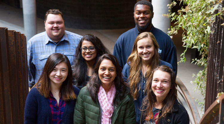 Top row (from left): Austin Rutherford, El'gin Avila. Middle row: Bharati Neelamraju, Sophia Borgias. Bottom row: Yiyi Huang, Nupur Joshi, Hannah Hindley. Not pictured: Adam Chmurzynski Valerie Madera-Garcia, Rachel Murray, Lorah Patterson and Norma Villagómez-Márquez. (Photo: Mari Cleven/UA Research, Discovery & Innovation)