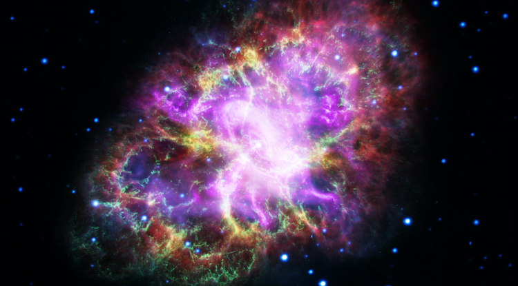 This composite image of the Crab Nebula was assembled with arbitrary color scaling by combining data from five telescopes spanning nearly the entire electromagnetic spectrum. (Image credits: NASA, ESA, NRAO/AUI/NSF and G. Dubner/University of Buenos Aires)