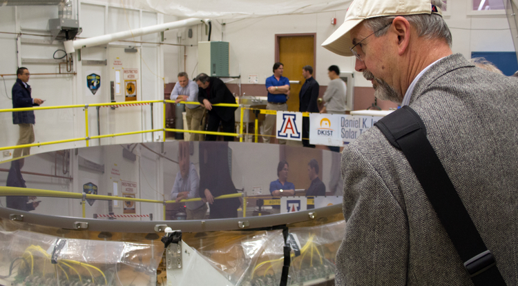The completed primary mirror for the Daniel K. Inouye Solar Telescope awaits shipping at the College of Optical Sciences.