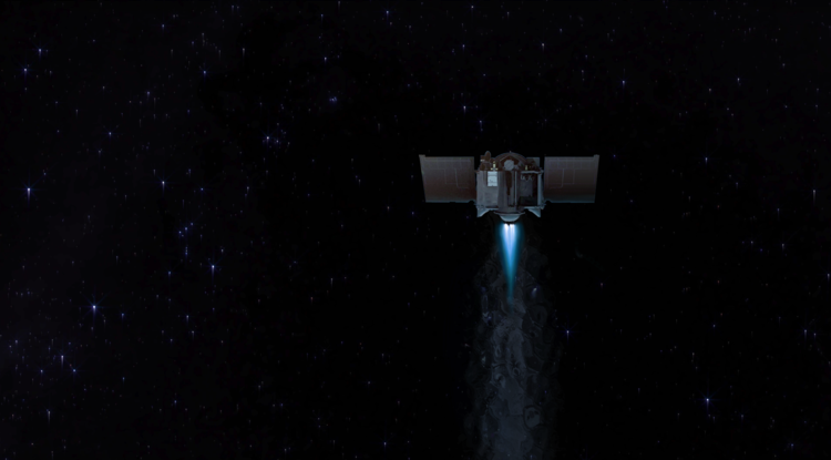 The UA-led OSIRIS-REx mission is the first by the U.S. to carry samples from an asteroid back to Earth. The image is an artist's conception of the spacecraft during a burn of its main engine. (Credit: Heather Roper/UA)