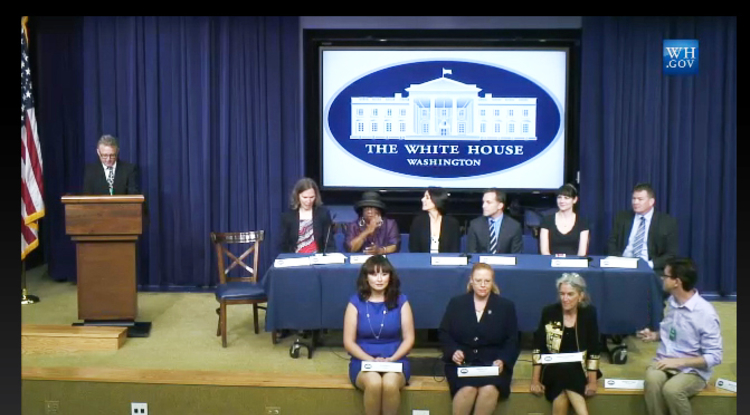 Dolores Hill (front row, second from left) received the award during a ceremony at the White House for her work around the Target Asteroids! program. The program's goal is to help change the relationship between professional and amateur scientists. Its efforts are also to more fully integrating the contributions of amateurs into professional efforts focusing on understanding asteroids that may be potentially hazardous to Earth.