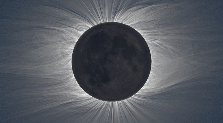 During the 2009 total eclipse, the sun's corona became visible to observers on the ground, its swirls and streaks caused by our star's magnetic field interacting with the solar wind. (Image courtesy of Miloslav Druckmüller, Peter Aniol, Vojtech Rušin, Ľubomír Klocok, Karel Martišek, Martin Dietzel)