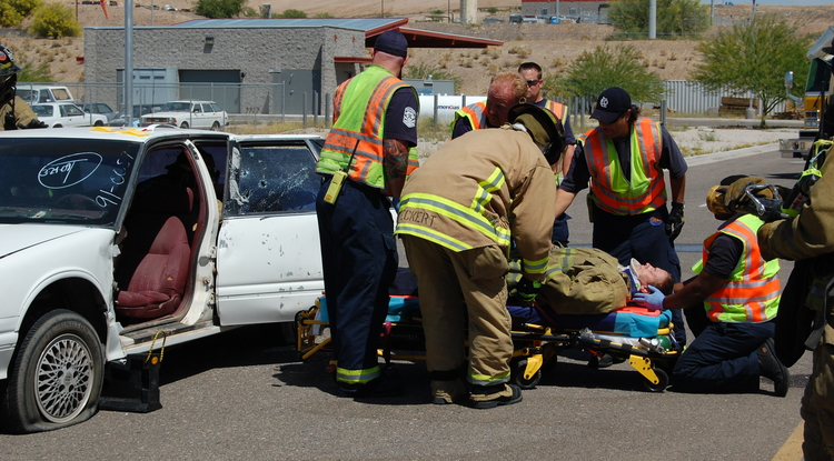 A demonstration by the City of Glendale shows the types of accidents that can lead to traumatic brain injury.