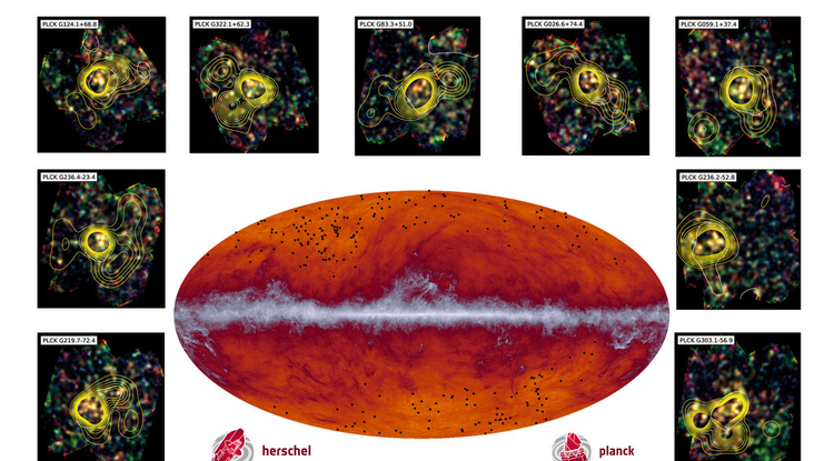The Planck all-sky map at submillimeter wavelengths (545 GHz). The band running through the middle corresponds to dust in our Milky Way galaxy. The black dots indicate the location of the proto-cluster candidates identified by Planck and subsequently observed by Herschel. The inset images showcase some of the observations made by Herschel's SPIRE instrument; the contours represent the density of galaxies. (Image: ESA/Planck Collaboration/ H. Dole, D. Guéry & G. Hurier, IAS/University Paris-Sud/CNRS/CNES)