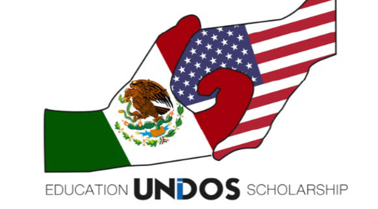 Education Unidos' logo, designed by a scholarship recipient, illustrates the joint cooperation between two countries that is helping UA South students succeed in the border town of Douglas, Arizona.