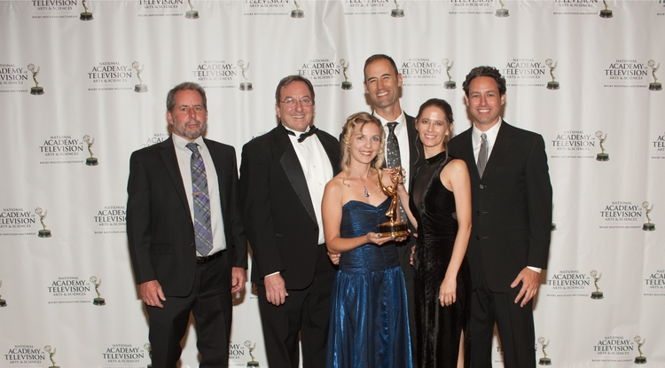From left: Dave Bogner, John Booth, Jatta Sheehy, Cody Sheehy, Ahniwake Dysinger and Matt Rahr, with the award for Best Topical Documentary at the Rocky Mountain Emmys (Photo: PR.Photography)