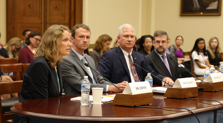 Kacey Ernst, a UA associate professor and infectious disease epidemiologist, testifies on the Zika virus before a U.S. House subcommittee.
