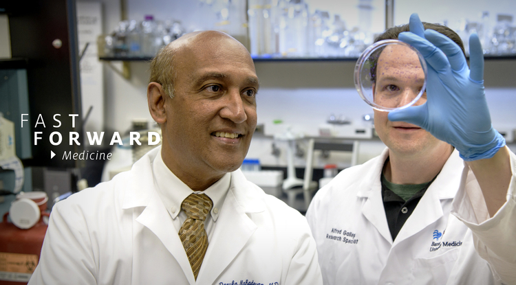 Dr. Daruka Mahadevan (left) and Eric Weterings examine cancer cells in a petri dish. Mahadevan is director of the UA Cancer Center Early Phase Clinical Trials Program. (Photo: Kris Hanning/UAHS, ABOR, BioCommunications)