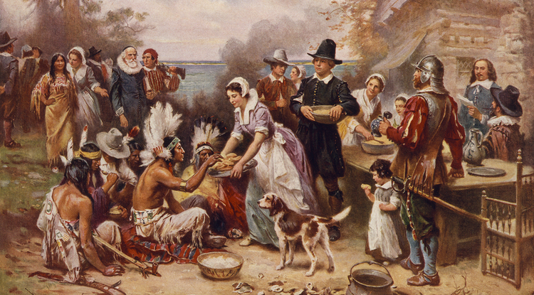 Illustrations of the first Thanksgiving often are historically inaccurate, such as this 1932 painting by Jean Leon Gerome Ferris. The outfits the Pilgrims are shown wearing are wrong, and the Wampanoag did not wear feathered war bonnets, nor would they have been sitting on the ground. (Photo: Library of Congress Prints and Photographs Division)