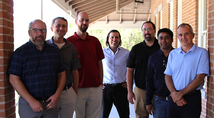 The FishTail Technologies team (from left): Adam Brokamp, Garrett Flora, David Baty, Alex Angeles, Mark Felix, Jayaram Timsina and Mark Bryant. (Photo: Paul Tumarkin/Tech Launch Arizona)