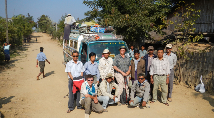 UA geoscientist Alexis Licht (bottom left) and his colleagues from the French-Burmese Paleontological Team used fossils they collected in Myanmar to determine that the Asian monsoon started at least 40 million years ago. Jean-Jacques Jaeger (center, with hiking stick) of the University of Poiters, France, led the team. (Photo credit: French-Burmese Paleontological Team, 2012)