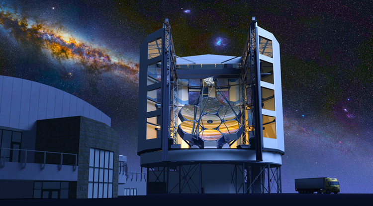 The Giant Magellan Telescope, against the southern Milky Way, as it will appear when it's completed. (Image: Todd Mason/Mason Productions and GMTO Inc.)