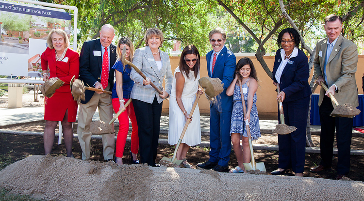 The ceremonial groundbreaking on Geraldo Rivera Greek Heritage Park included Rivera (blue suit), his family, UA President Ann Weaver Hart (fourth from left) and other UA officials. (Photo: John de Dios/UANews)