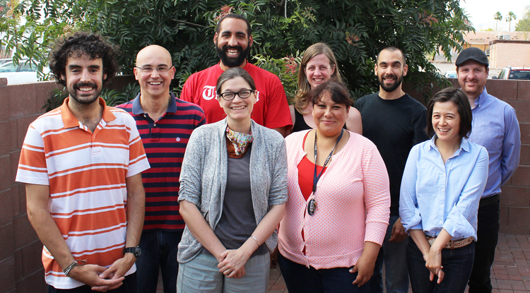 The Confluencenter for Creative Inquiry's Graduate Fellows for the 2015-2016 academic year include (front row from left) Martin Barros, Angela Storey, Anabel Galindo and Carolina Maki Kitagawa and (back row from left) Joaquin Perez-Blanes, William White, Christina Greene, Gabriel Higuera and Jeffrey Wilson. (Photo: Jamie Manser, Confluencenter for Creative Inquiry)
