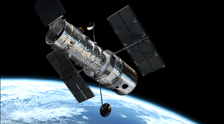 This illustration shows the NASA/ESA Hubble Space Telescope in its high orbit 600 kilometers above Earth. (Photo: European Space Agency)