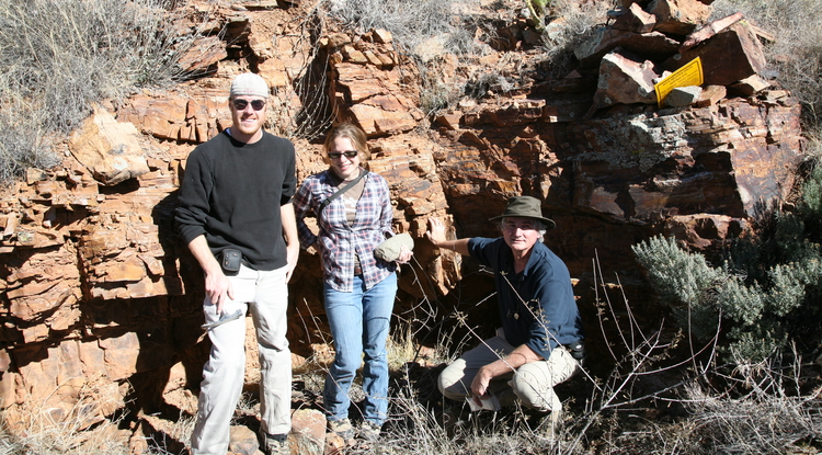 From left: researchers Saul Hedquist, Alyson Thibodeau and David Killick at Canyon Creek (Photo courtesy of Killick)