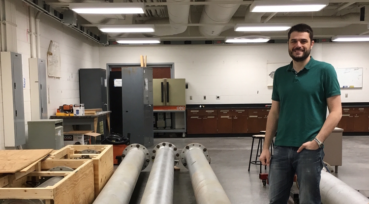 Alex Craig is part of a power trio of UA aerospace engineers to win Navy grants in spring 2017 for hypersonic research. Parts for a new wind tunnel to aid their work arrived on campus earlier this summer.